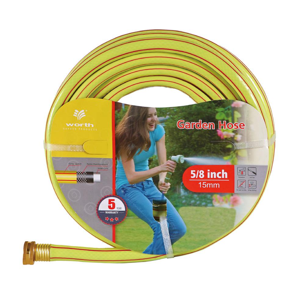 Worth Garden 5/8 in. Dia x 50 ft. 3 Stars Yellow Garden Hose The 5/8 in. x 50 ft. 3 stars yellow hose weights 5.43 lb. The refreshing yellow color base and red stripes bring out energy. It is flexible and durable. It is a good basic piece to have in your garden.