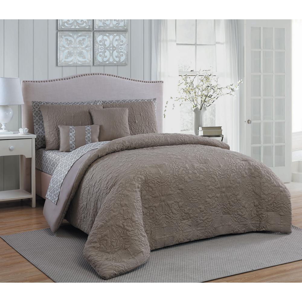 Melbourne 9-Piece Taupe Queen Comforter Set