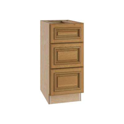 Clevedon Assembled 15x34.5x24 in. Base Drawer Cabinet with 3 Drawers in Toffee Glaze