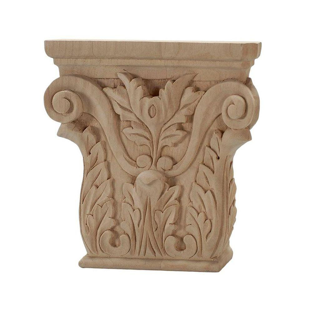 American Pro Decor 4 in. x 3-7/8 in. x 1 in. Unfinished Hand Carved North American Solid Alder Acanthus Wood Onlay Capital Wood Applique