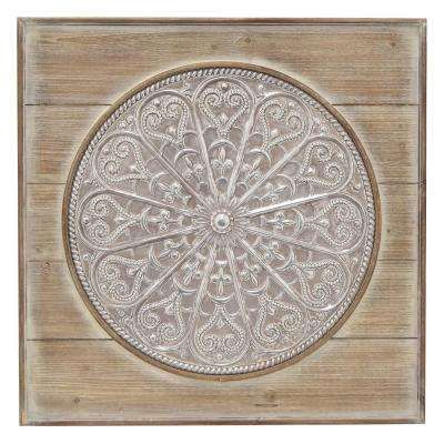 Metal and Wood Wall Art Wall Decor Finished in Brown - 28 X 1.5 X 28
