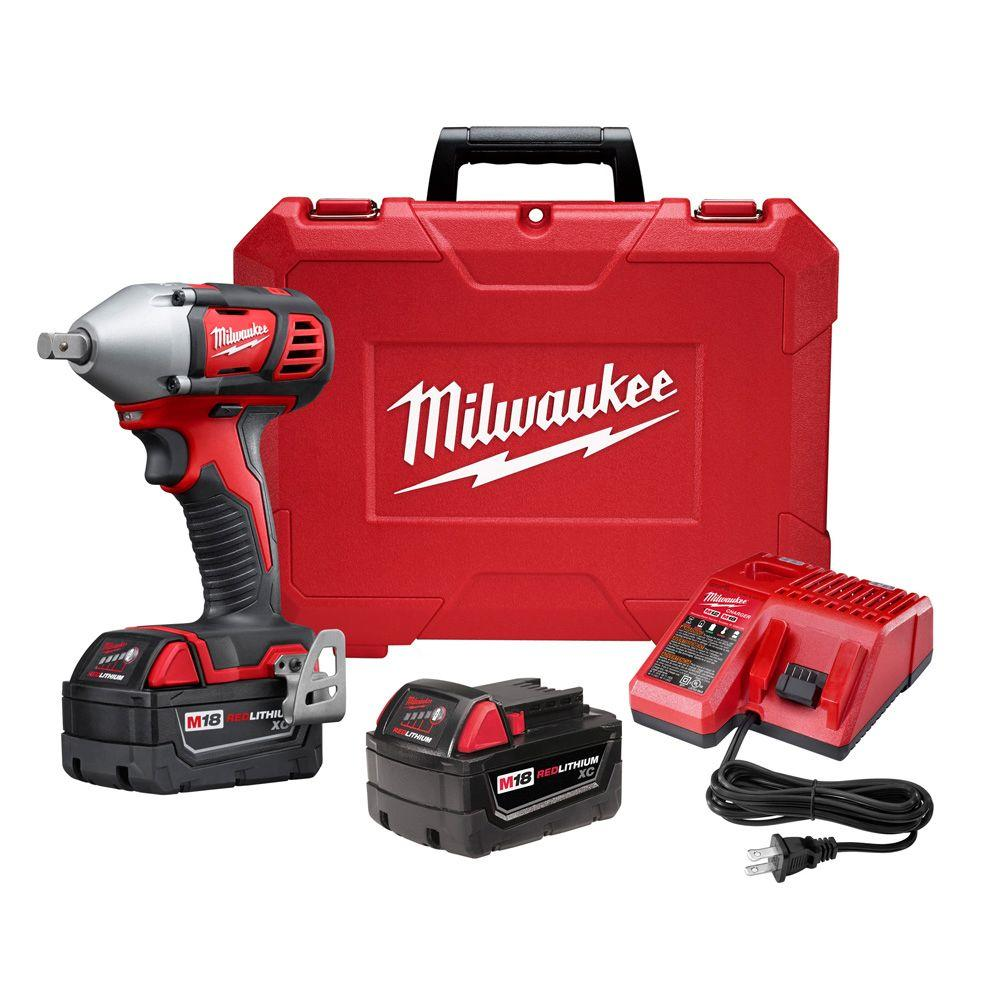 1 2 Cordless Impact >> Milwaukee M18 18 Volt Lithium Ion Cordless 1 2 In Impact Wrench W Pin Detent Kit W 2 3 0ah Batteries Charger Hard Case