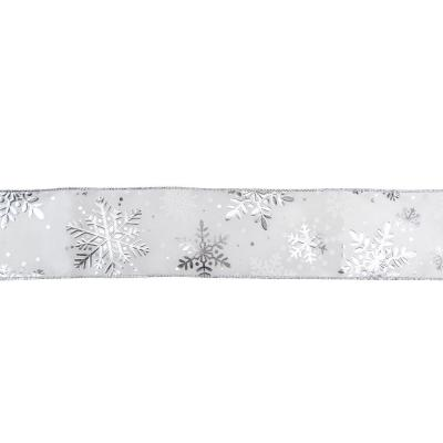 2.5 in. x 16 yds. Metallic White and Silver Snowflake Wired Craft Ribbon