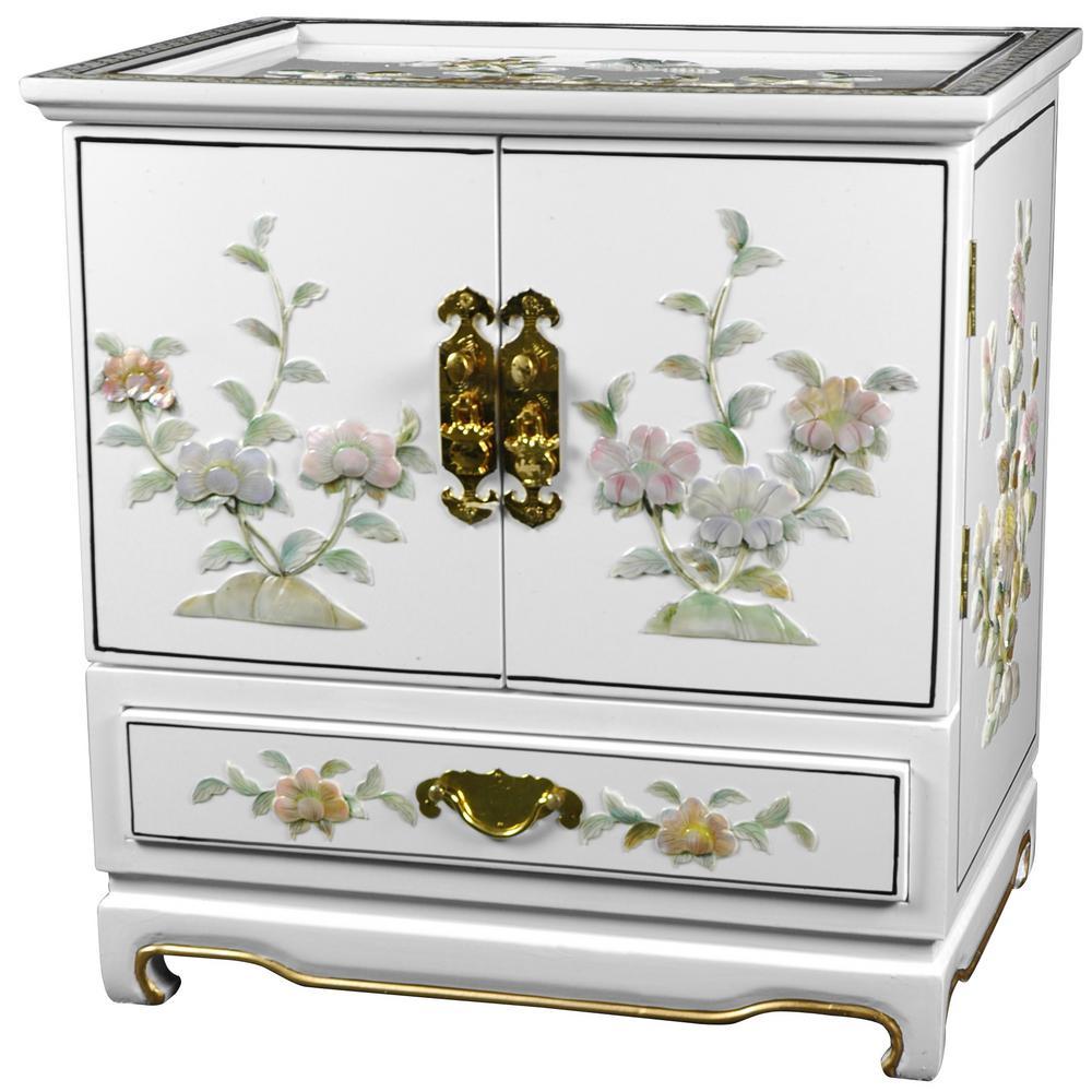 Oriental Furniture White Empress Lacquer Jewel Box