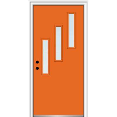 32 in. x 80 in. Davina Low-E Glass Right-Hand Inswing 3-Lite Clear Painted Steel Prehung Front Door