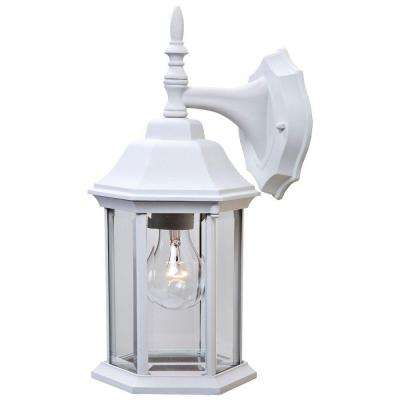 Craftsman 2 Collection 1-Light Textured White Outdoor Wall-Mount Fixture