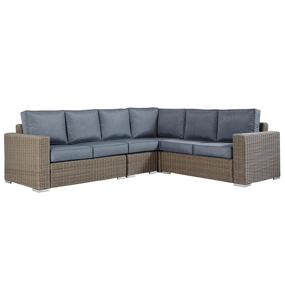 Homesullivan Rolled Arm Wicker Outdoor Sectional Sofa Gray Cushion