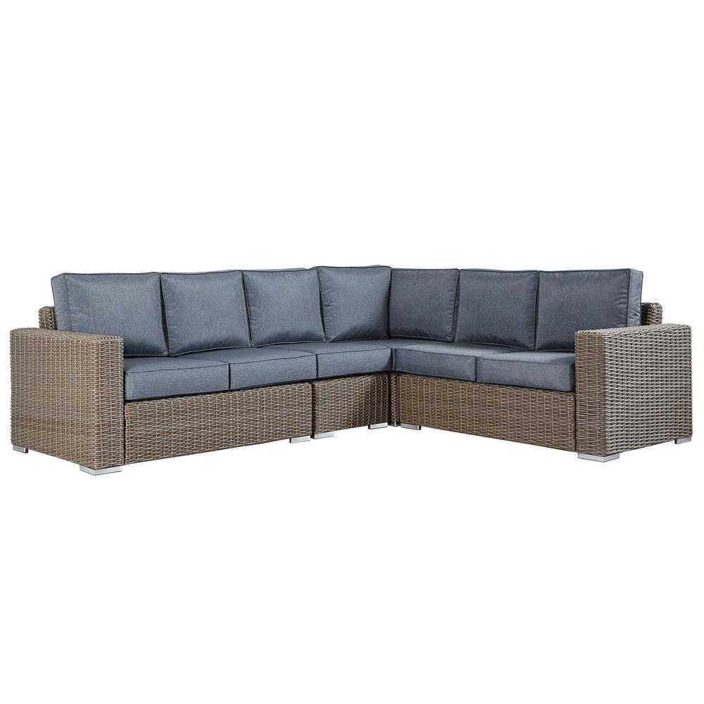 Homesullivan Camari Mocha Rolled Arm Wicker Outdoor Sectional Sofa