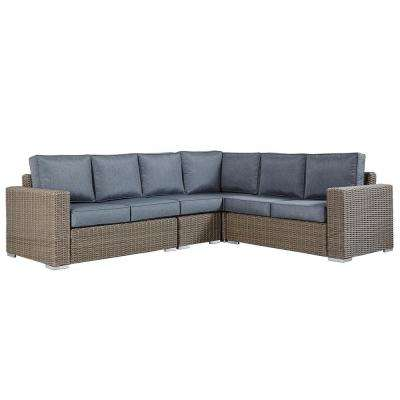 Camari Mocha Rolled Arm Wicker Outdoor Sectional Sofa Gray Cushion