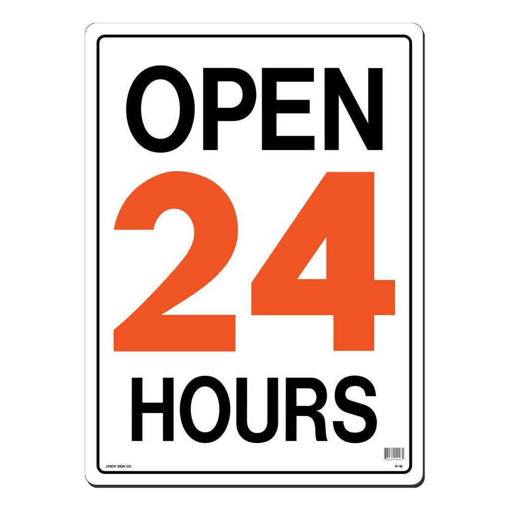 Lynch Sign 15 In X 21 In Open 24 Hours Sign Printed On More