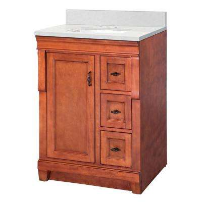 Naples 25 in. W x 22 in. D Vanity Cabinet in Warm Cinnamon with  Marble Vanity Top in Snowstorm with White Basin