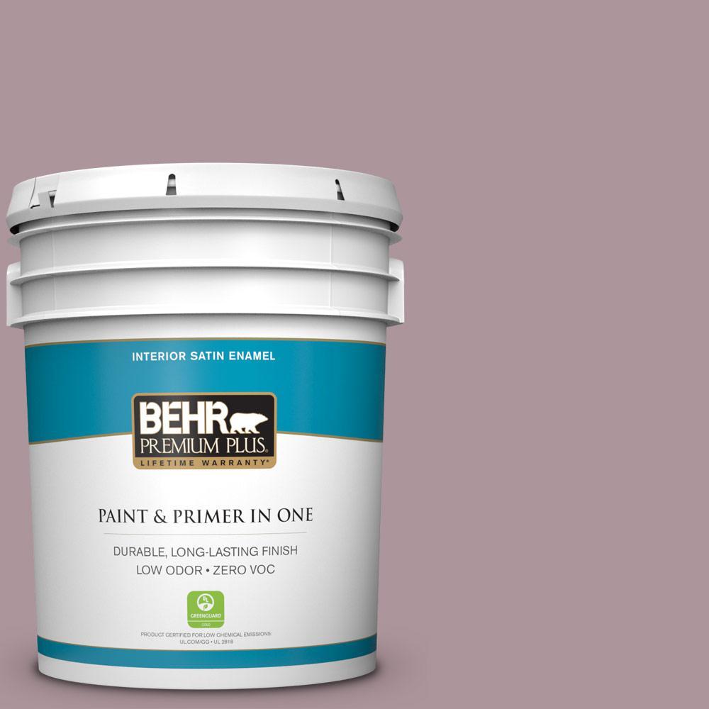 BEHR Premium Plus 5-gal. #ICC-64 Heirloom Quilt Zero VOC Satin Enamel Interior Paint