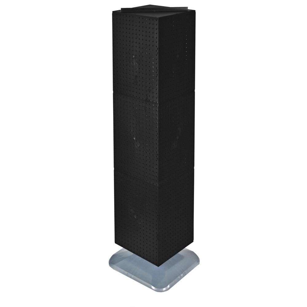 Azar Displays 64 in. H x 14 in. W Interlock Pegboard Tower on a Revolving Base with Wheels in Black