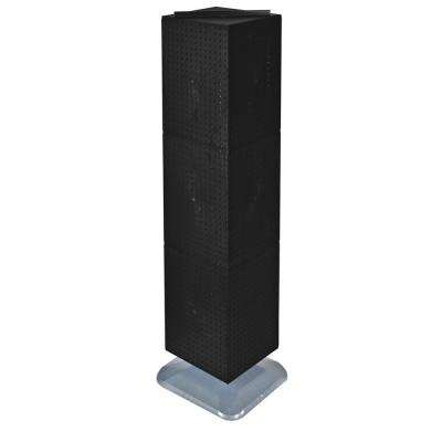 64 in. H x 14 in. W Interlock Pegboard Tower on a Revolving Base with Wheels in Black