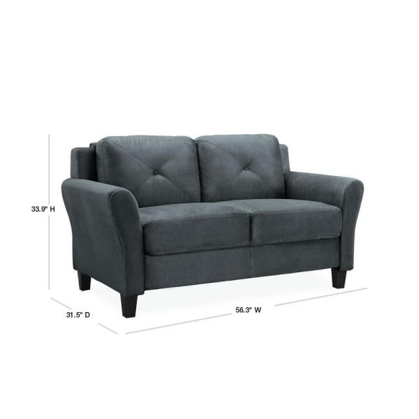 Lifestyle Solutions Harvard 56 3 In Dark Grey Microfiber 2 Seater Loveseat With Round Arms Cchrfks2m26dgra The Home Depot