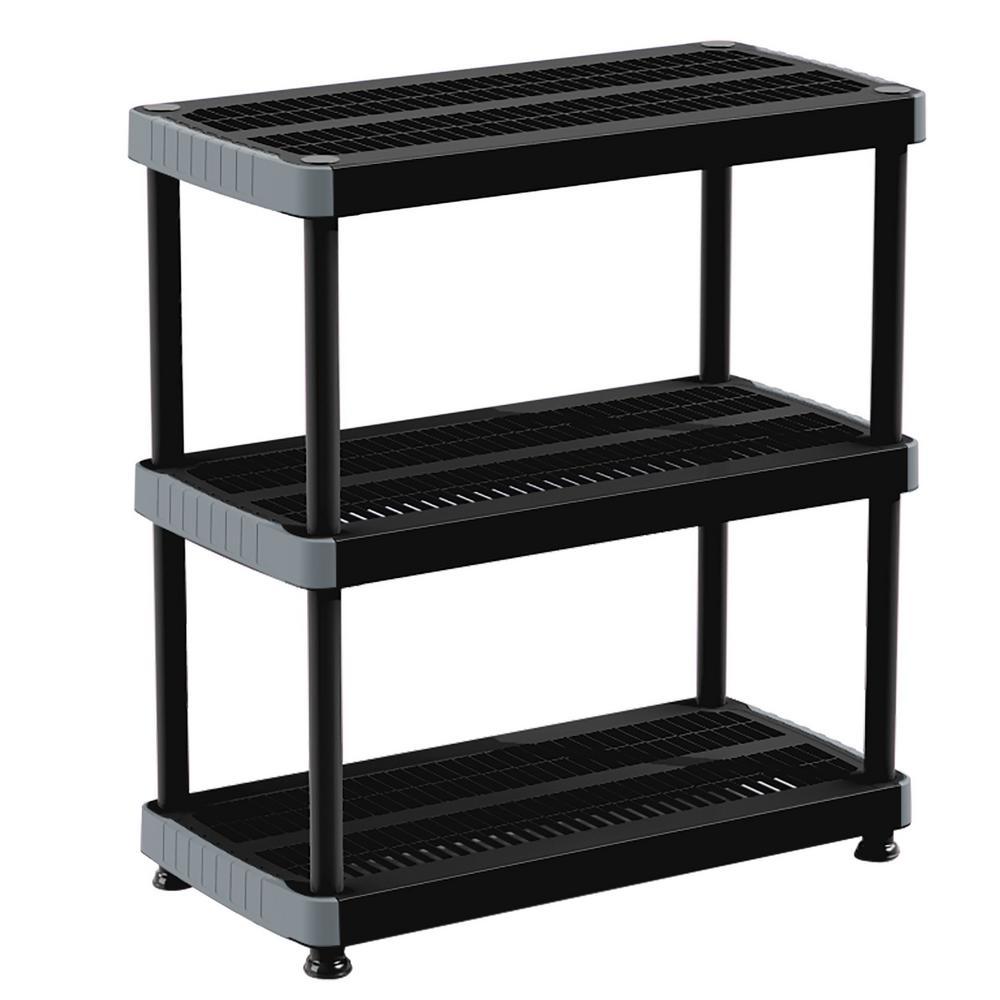 RIMAX 39 in. H x 36 in. W x 18 in. D. 3 Shelf Black Plastic Storage Shelving Unit