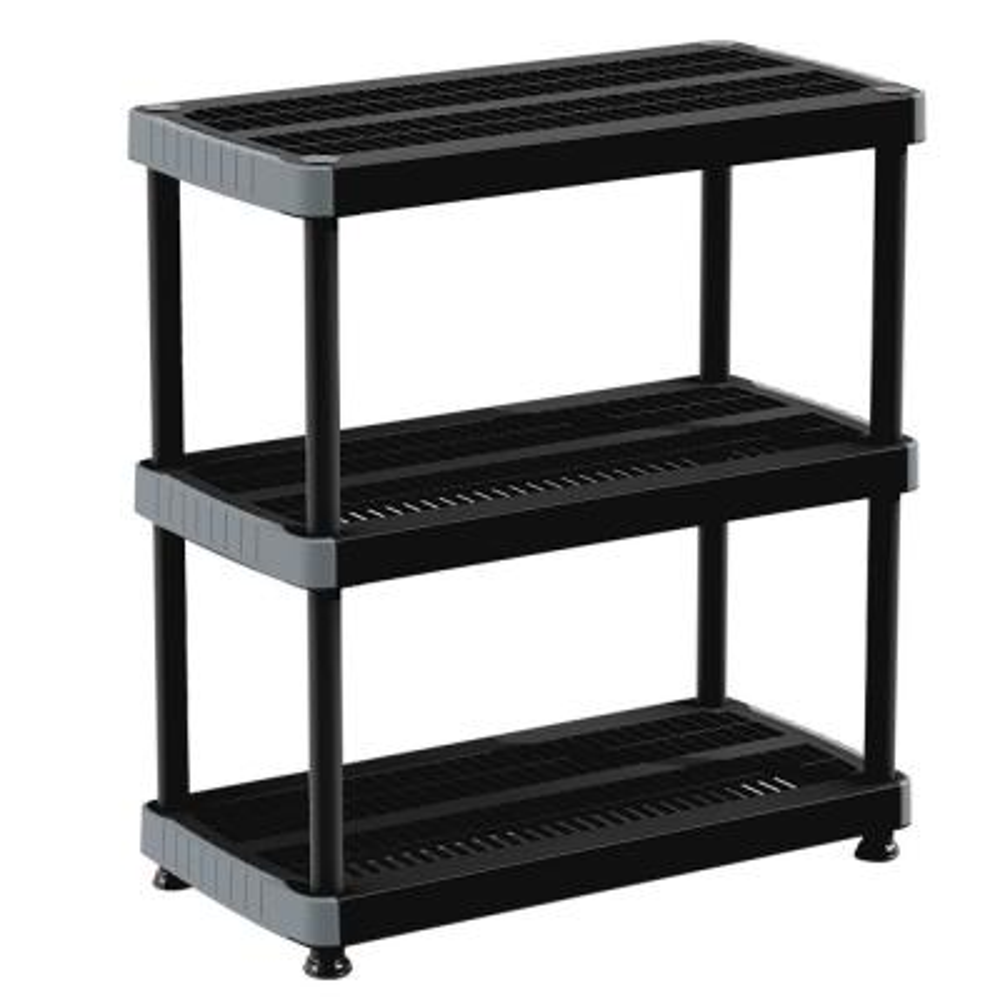 RIMAX Black 3-Tier Plastic Garage Storage Shelving Unit (36 in. W x 39 in. H x 18 in. D)