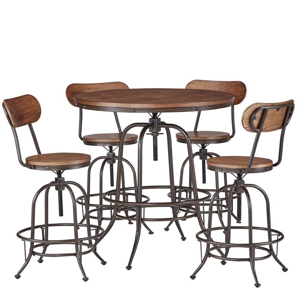 Olson 5-Piece Brown Bar Table Set