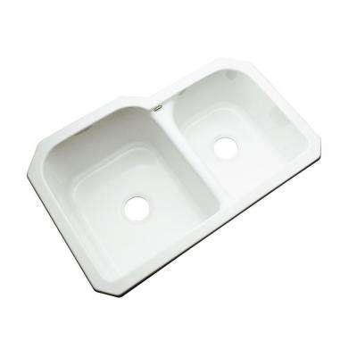 Cambridge Undermount Acrylic 33 in. 0-Hole Double Bowl Kitchen Sink in White