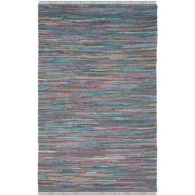 Rag Rug Aqua/Multi 8 ft. x 10 ft. Area Rug