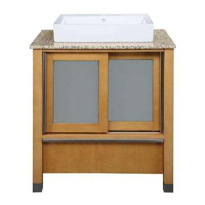 Tyson 31 in. W x 22 in. D x 32 in. H Vanity in Maple with Granite Vanity Top in Carmelo and Lavatory in White