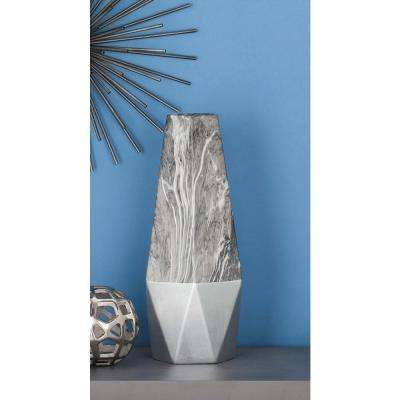 18 in. Silver and Gray Marble Paneled Decorative Vase