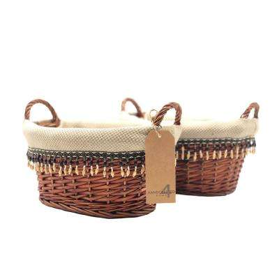9 in. D x 13 in. W x 6.3 in. H Traditional Lined Wicker Baskets (Set of 2)
