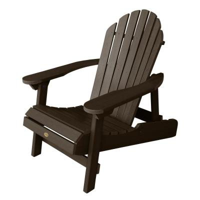Hamilton Weathered Acorn Folding and Reclining Plastic Adirondack Chair