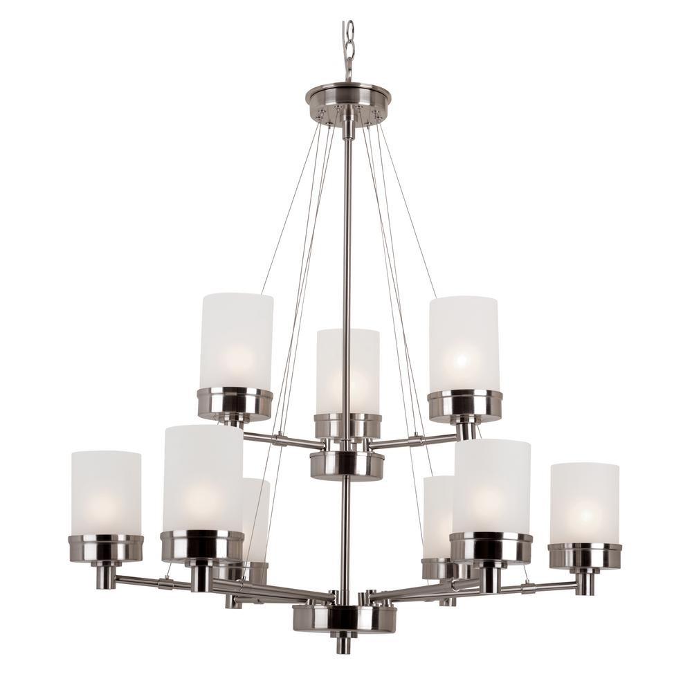 Bel Air Lighting Fusion 9 Light Brushed Nickel Chandelier With Frosted Shades