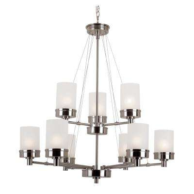 Fusion 9-Light Brushed Nickel Chandelier with Frosted Shades