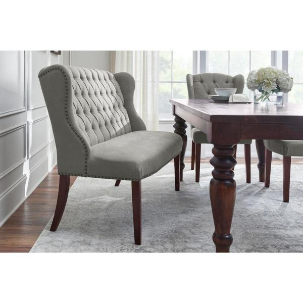 Home Decorators Collection Belcrest Upholstered Tufted Wingback Dining Bench With Charleston Teal Seat 56 3 In W X 41 In H 3249 L B E Chal The Home Depot
