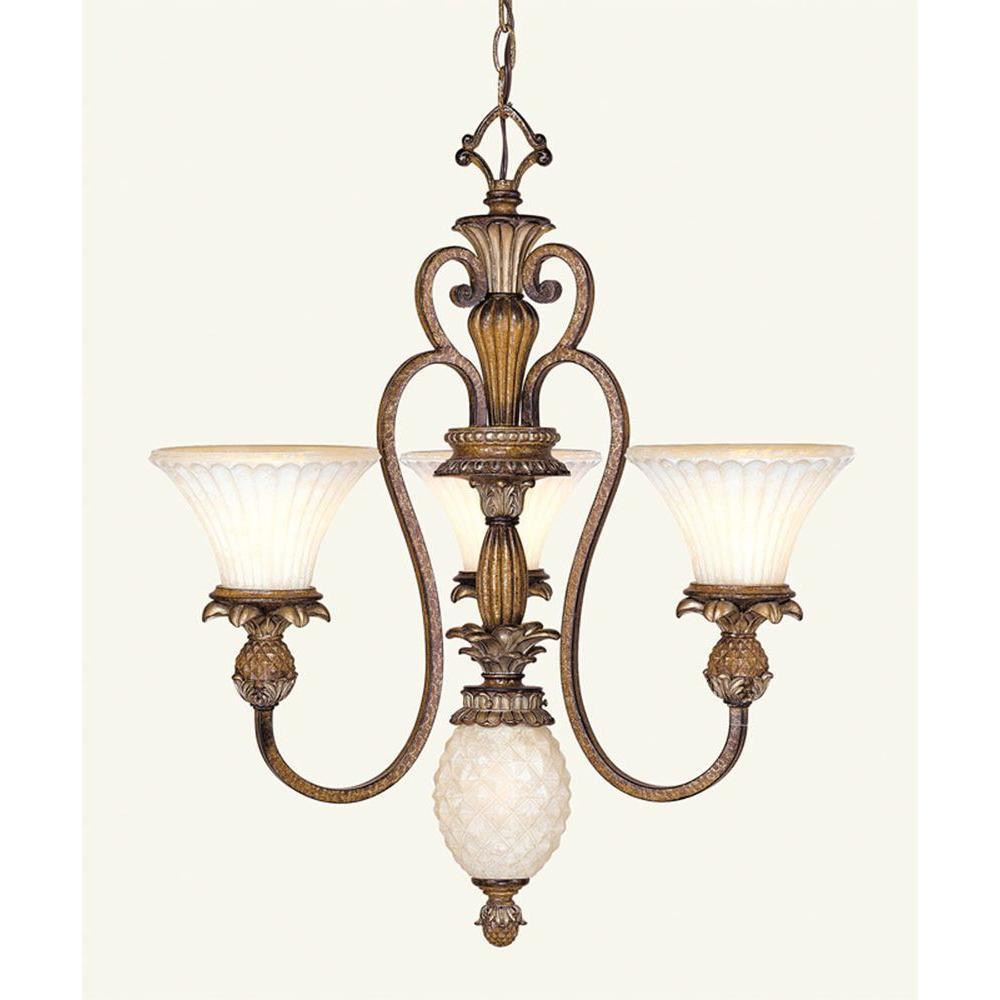 3-Light Venetian Patina Incandescent Ceiling Chandelier