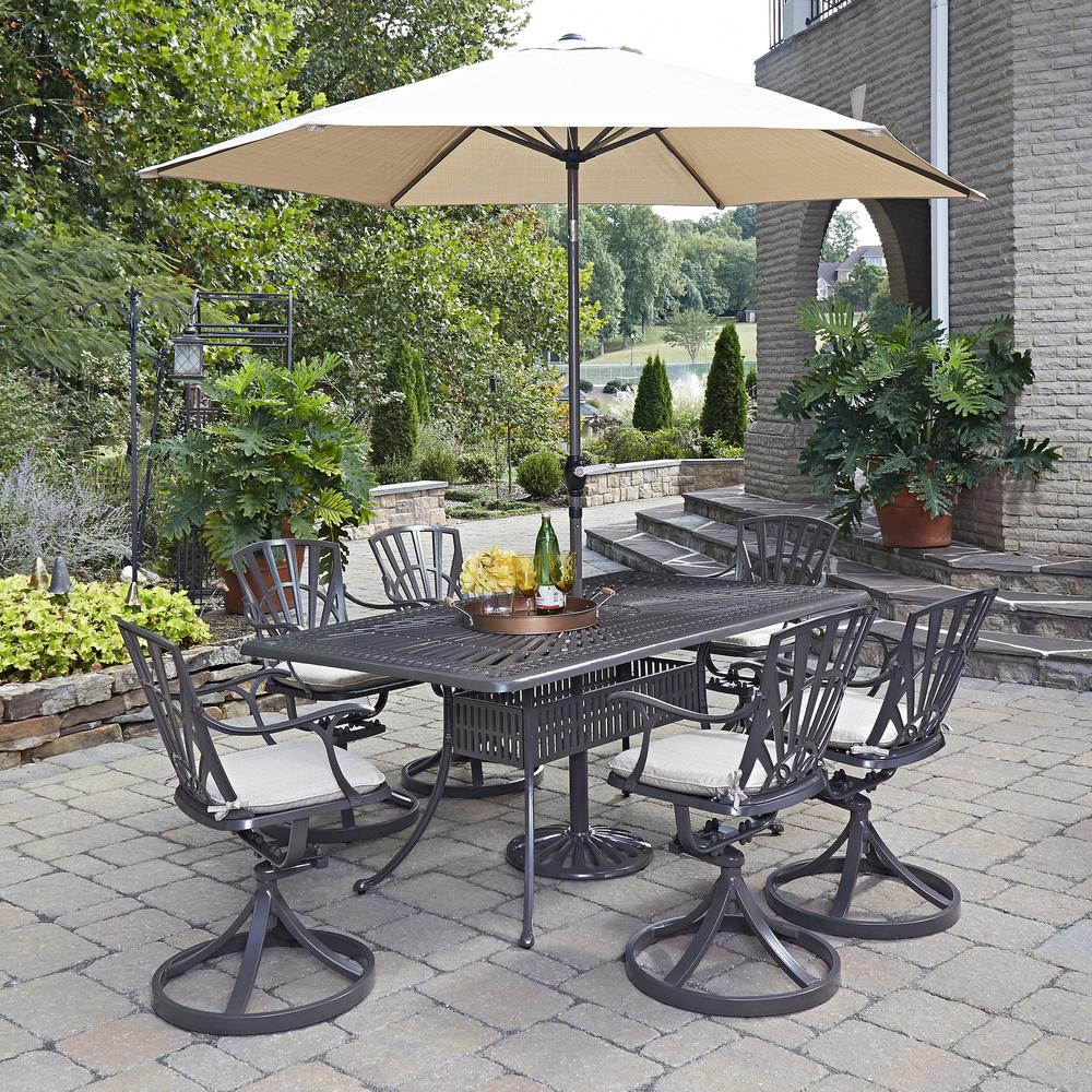 home styles stone harbor 40 in 5 piece slate tile top round patio dining set with newport. Black Bedroom Furniture Sets. Home Design Ideas