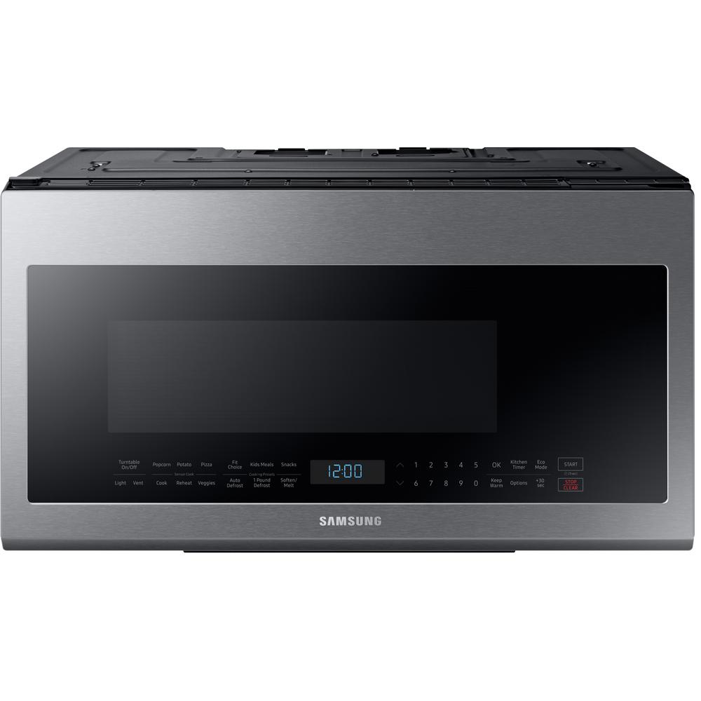 Samsung 30 In W 2 1 Cu Ft Over The Range Microwave Fingerprint Resistant