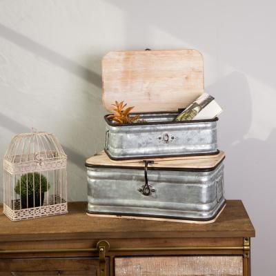 Farmhouse Galvanized Metal Container (Set of 2)