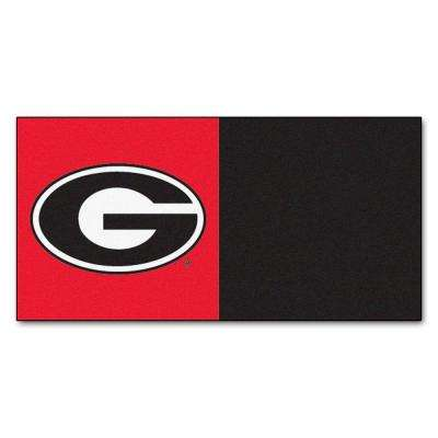 NCAA - University of Georgia Red and Black Nylon 18 in. x 18 in. Carpet Tile (20 Tiles/Case)