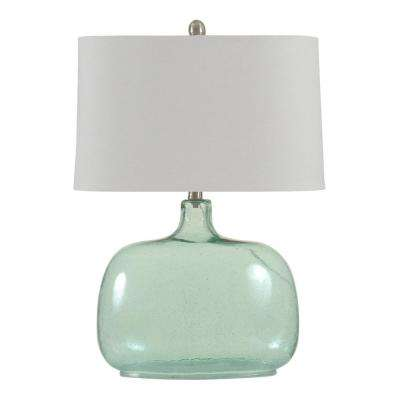 25.5 in. Teal Seeded Table Lamp with White Hardback Fabric Shade