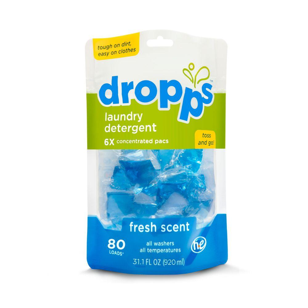 80-Count Dropps Fresh Scent Laundry Detergent Pack (Case of 6)