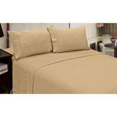 Jill Morgan Fashion Solid Taupe Microfiber 4-Piece Queen Sheet Set
