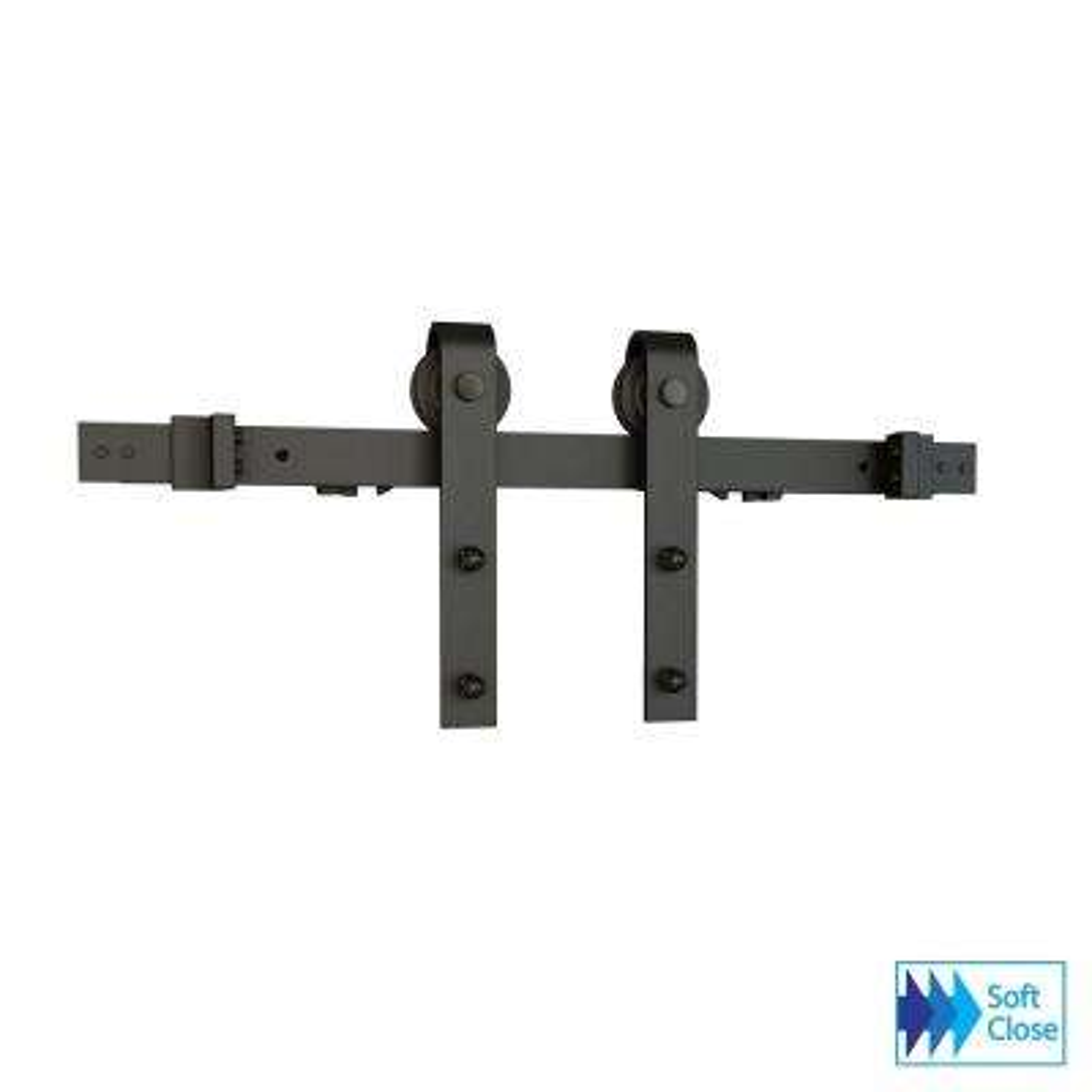 Soft Close Espresso Solid Steel Sliding Rolling Barn Door Hardware Kit for Single Wood Doors