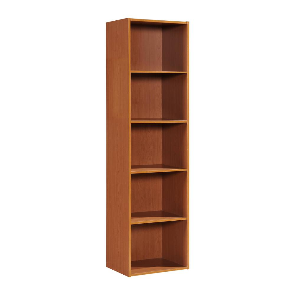 59.06 in. Cherry Wood 5-shelf Standard Bookcase with Storage