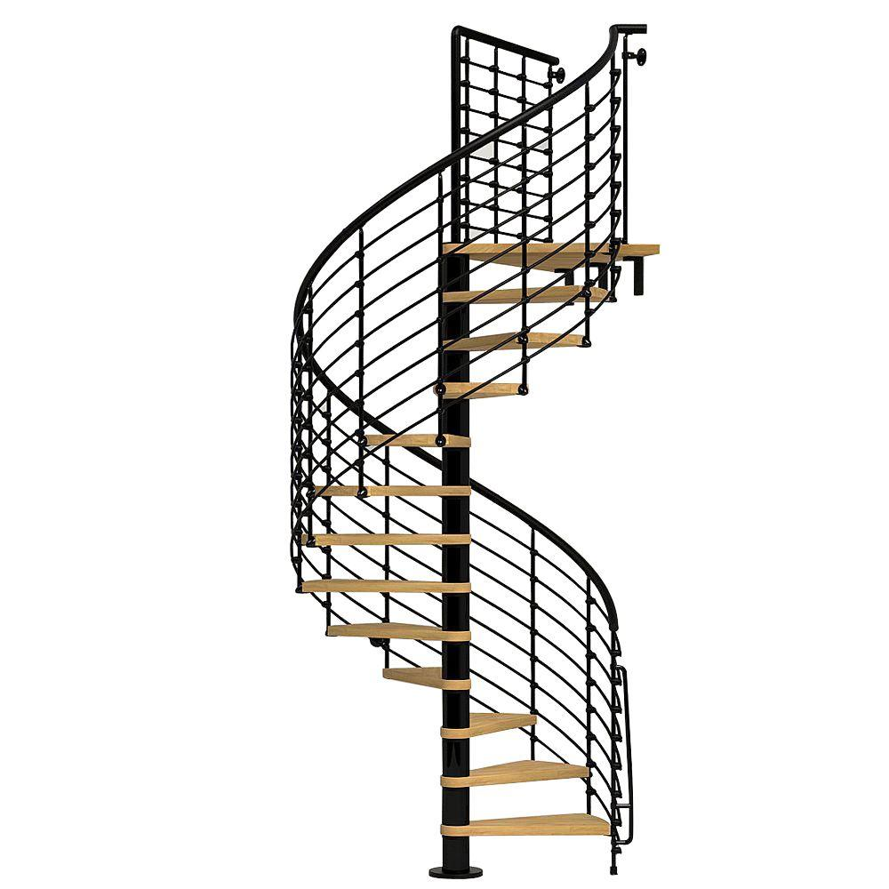 Oak70.Xtra 63 in. Black Spiral Staircase Kit