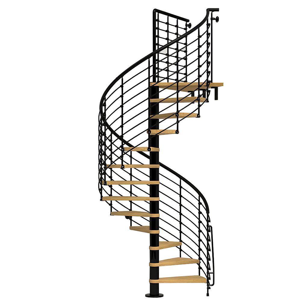 Oak70.Xtra 63 in. Black Spiral Staircase Kit