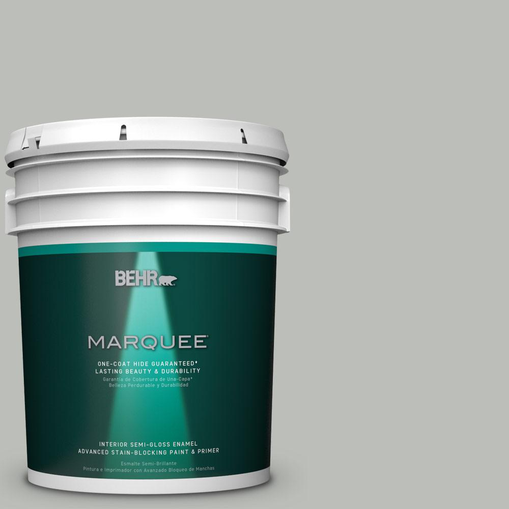5 gal. #PPU24-17 Hailstorm Gray Semi-Gloss Enamel Interior Paint
