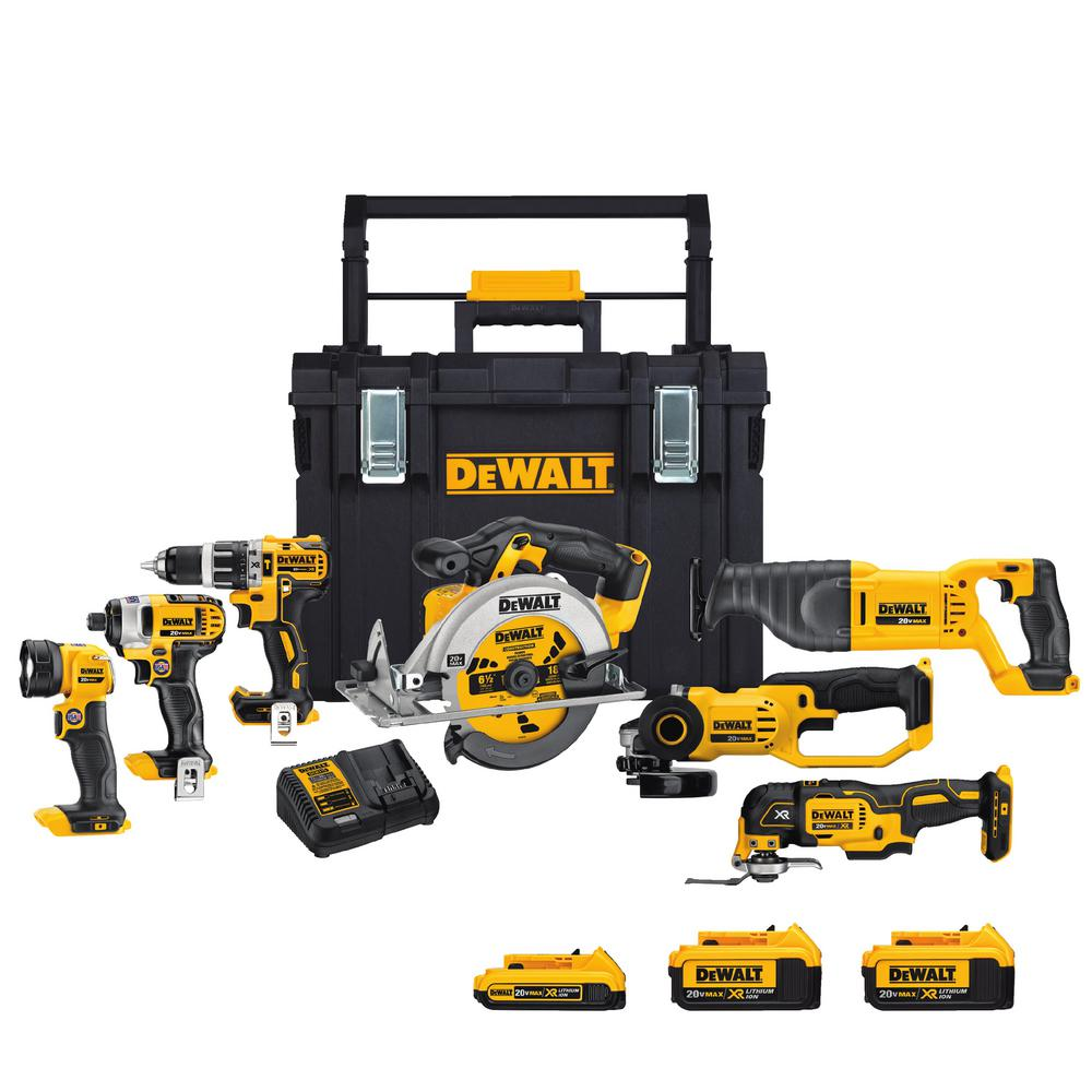 DEWALT 20-Volt Max Lithium Ion Cordless Combo Kit (7-Tools) with Tough Case