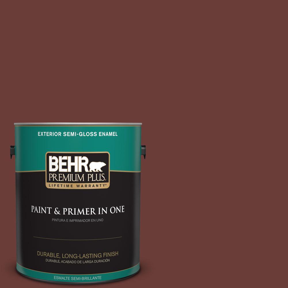 BEHR Premium Plus 1-gal. #BXC-69 Cimarron Semi-Gloss Enamel Exterior Paint
