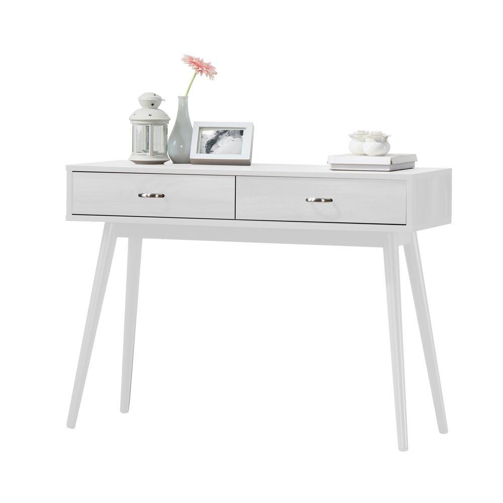 4d Concepts Montage Mid Century White Laptop Desk