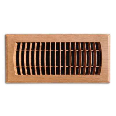 4 in. x 10 in. Plastic Floor Register in Oak Grain