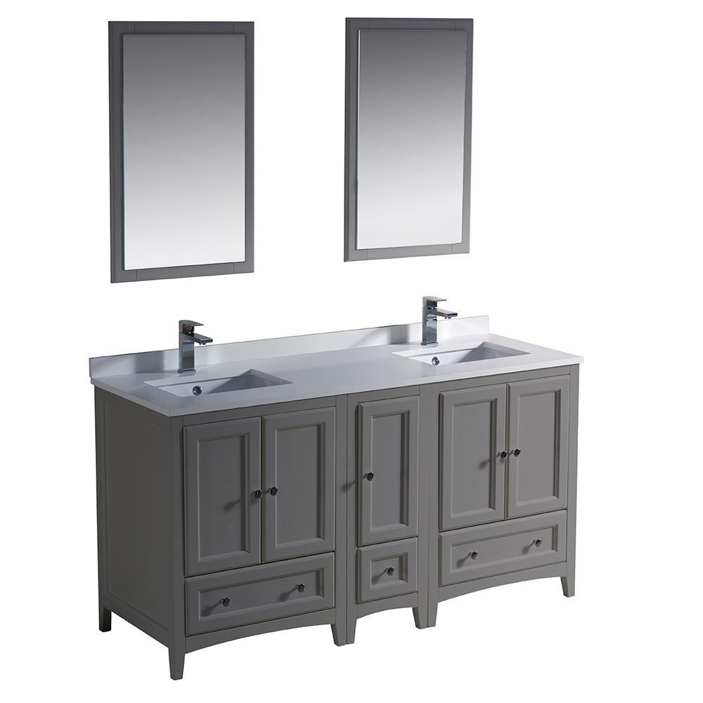 Traditional double bath vanity in gray with quartz