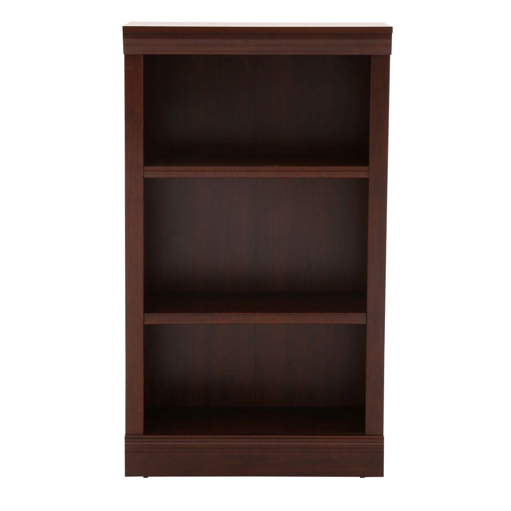 hamptonbay Hampton Bay Dark Brown 3-Shelf Decorative Bookcase, Dark Brown Wood
